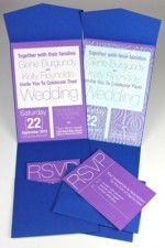 Modern Layered Blue and Purple Pocketfold Invitation