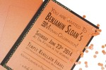 Funky Orange & Brown Bar Mitzvah Invitation