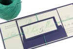 Green & Navy Twine Wrapped & Tagged Invite