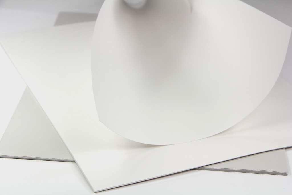 74lb text weight cotton paper in white and gray