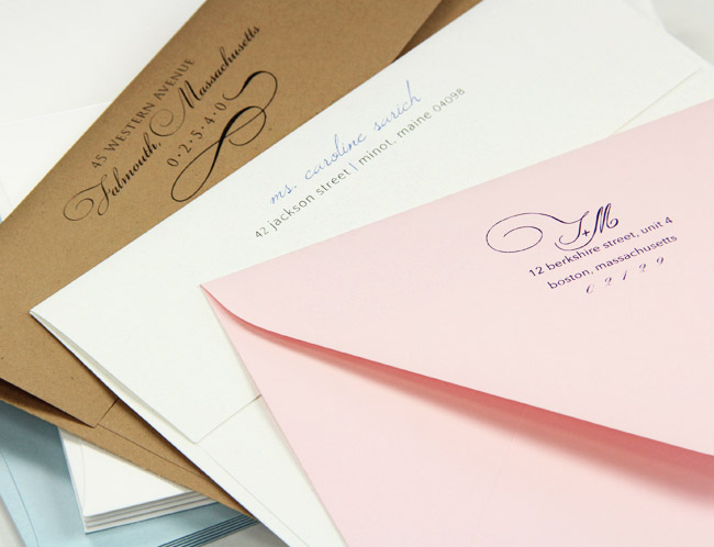 Colorful printed invitation envelopes in matte and metallic finishes from LCIPaper.com