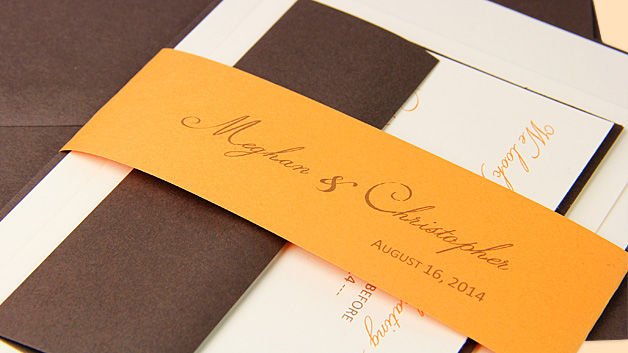 DIY Banded Invitation As Seen on Top Wedding Sites Orange brown