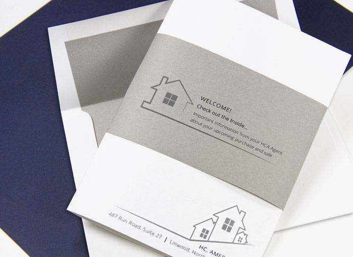 Real estate package made with luxury paper system - Gmund colors stone and stone pre-lined envelope
