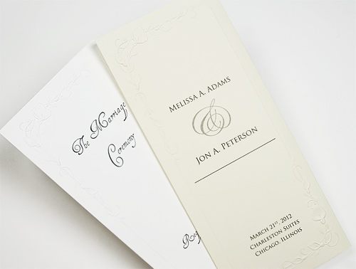 trifold calla lily embossed wedding programs