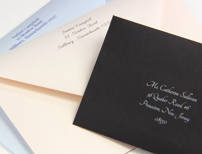 Invitation envelopes printed by LCIPaper.com - choose from wide variety of fonts and colors