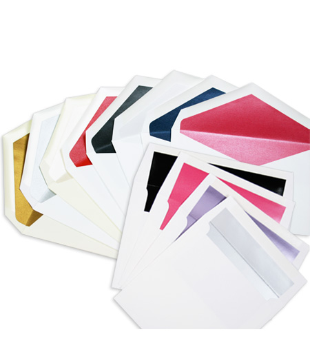 colorful variety of lined invitation envelopes