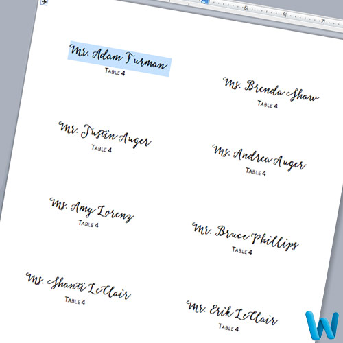 how to make place cards on microsoft word 2010