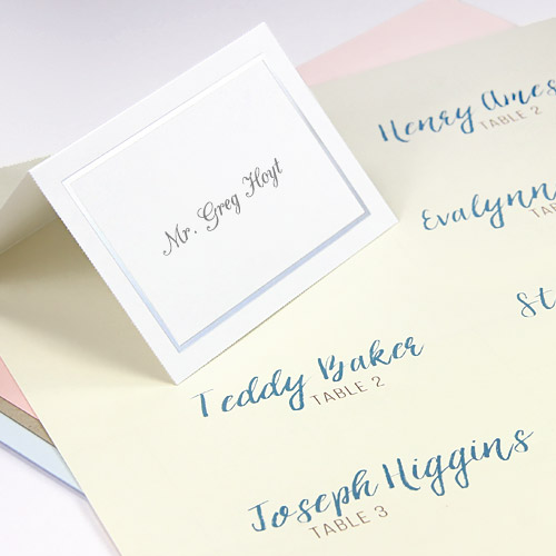 Easy print, multi-up seating cards in flat and folding formats and traditional colors