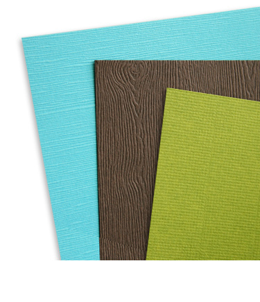 Card stock with embossed textured finish