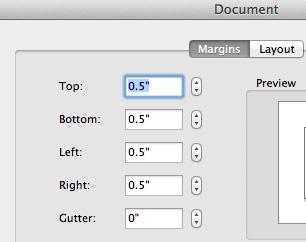enter margins in word