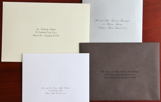 wedding envelopes with custom printed addresses