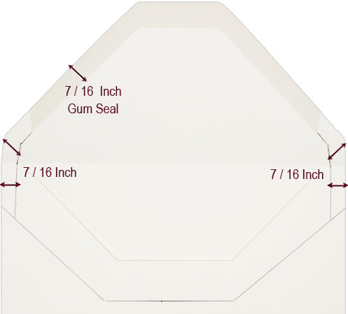 European flap envelope graphic:  Measure the width of the gum seal to determine how to scale your envelope liner template to size