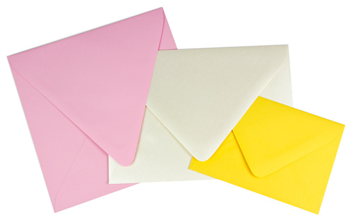 array of sizes and colors in euro flap envelopes