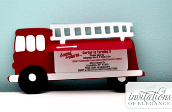 Firetruck child's invitation design by Invitations of Elegance.