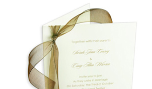 Folding invitation card made with light weight ecru card stock