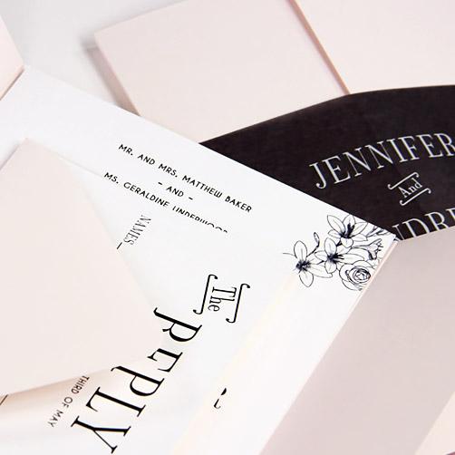 Simple blush pink, white, and blank gate fold invitation. Creative invitation ideas from LCIPaper.com