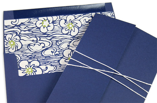 navy gate fold invitation with hand lined navy blue envelope