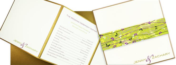 Gold and cream square layered tri-fold program