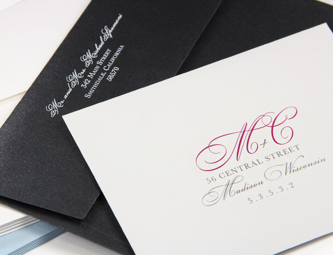 Cotton and metallic invitation envelopes printed with custom return addresses
