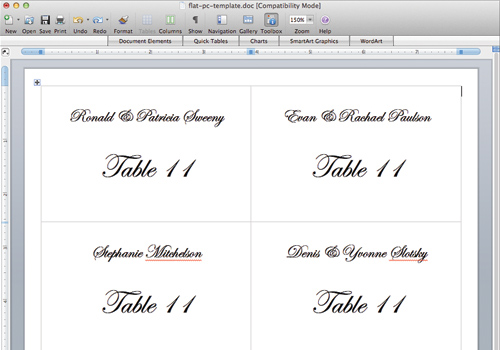 Place card templates microsoft word reheart Choice Image