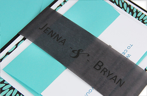 Modern tiffany blue, black, and white wedding invitation with black vellum personalized belly band