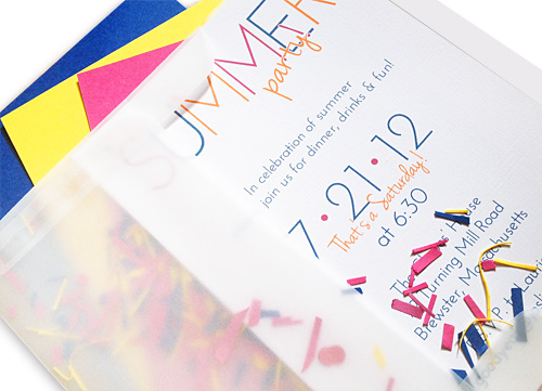 party invitation in vellum envelope