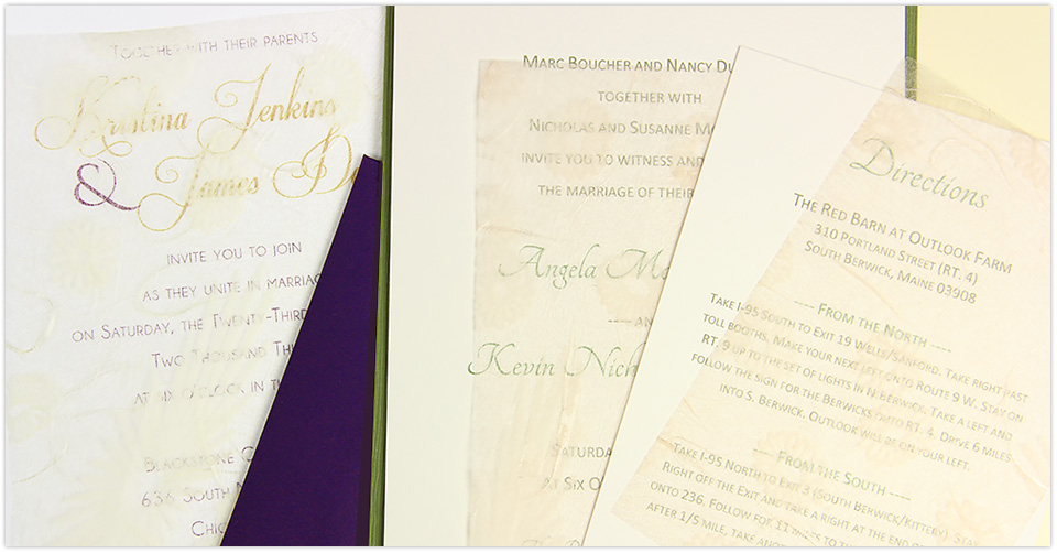 invitations with decorative tissue