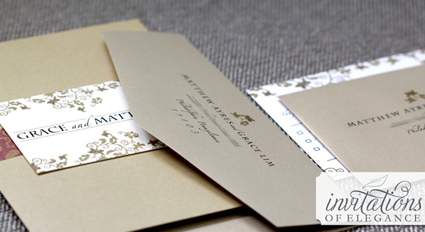 Kraft invitation folder design by Invitations of Elegance.