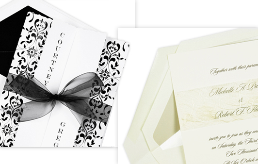 traditional ecru invitation and modern black and white damask invitation
