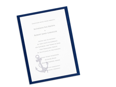 Layered navy blue and white nautical invitation card