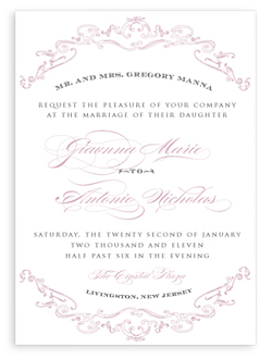 Panel invitation design by Invitations of Elegance.
