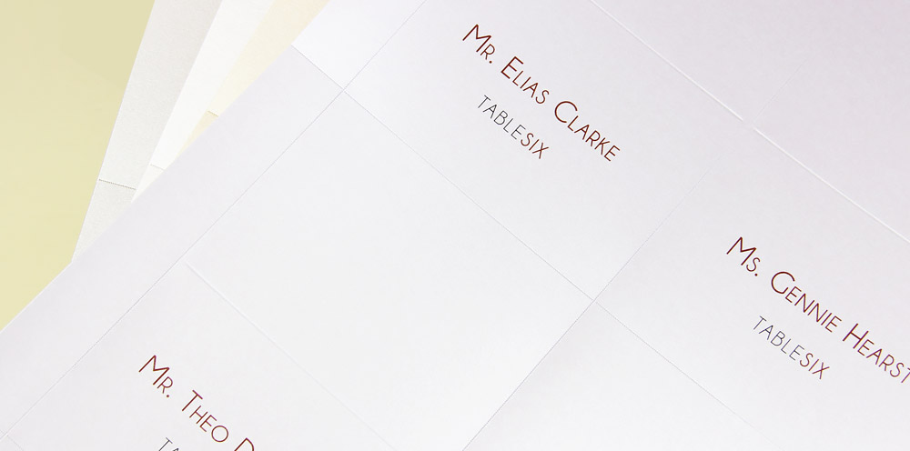 Print your own metallic place cards