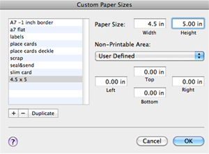 Custom Paper Size Settings