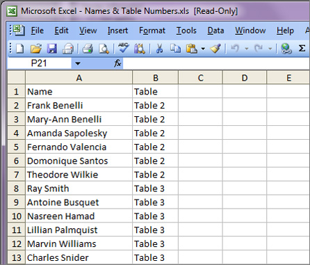 place cards spreadsheet file