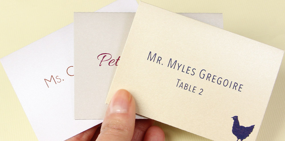 Variety of printable metallic finish place cards