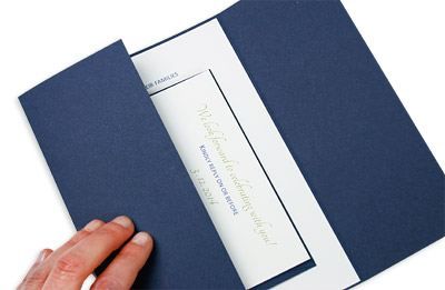 place response cards and invitation in gate fold and close