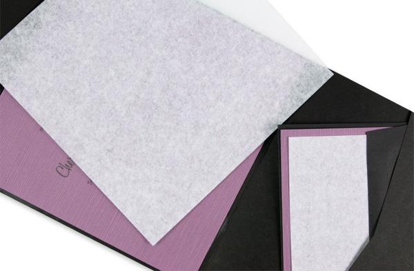 Pocket fold wedding invitation with tissue insert