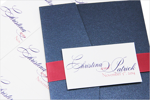 pocket invitation with tag on band
