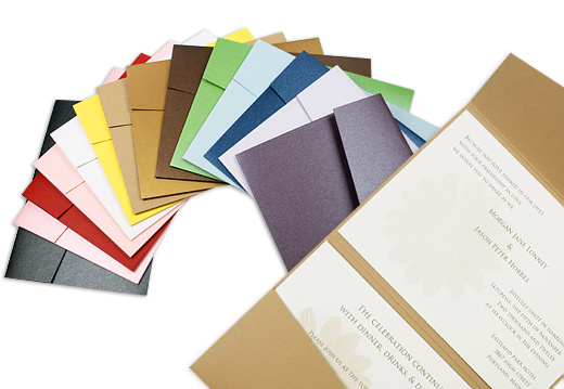 Pocket folds are an increasingly popular wedding invitation style