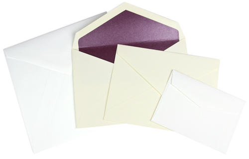 array of pointed flap envelope sizes and colors