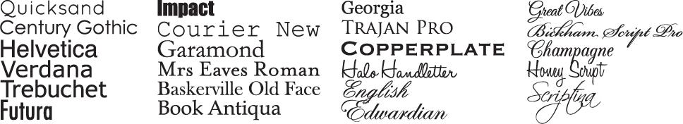 LCI Printing Popular Fonts