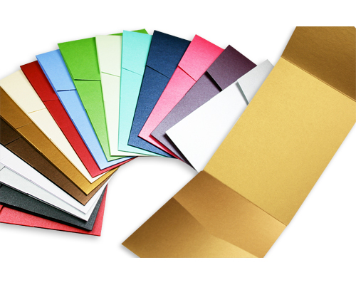 colorful array of metallic portrait pocketfolds