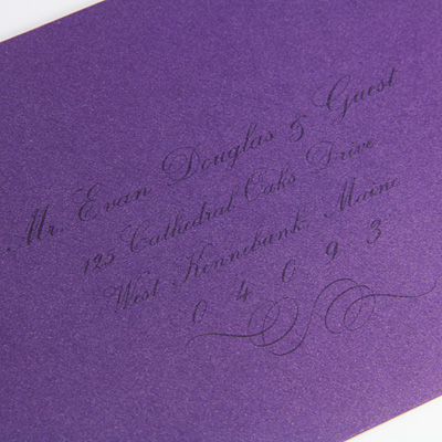 lightly printed purple envelope