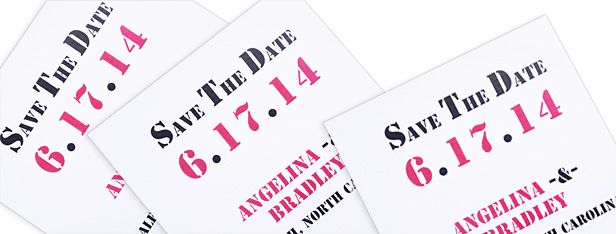 printed black and pink save the date cards