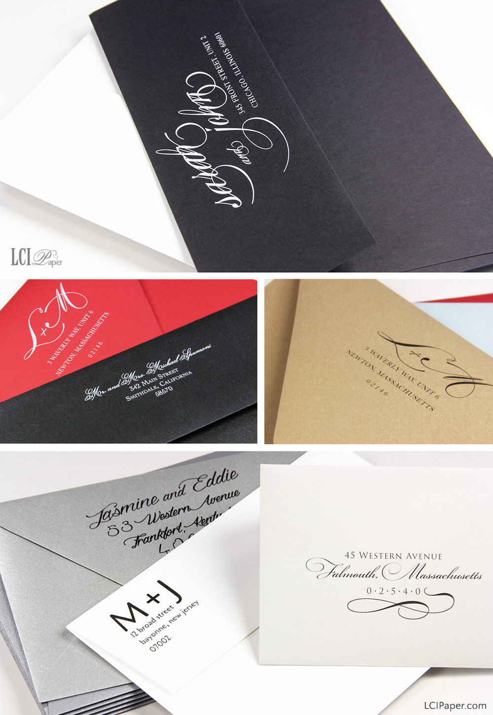 Collage of custom printed envelopes - LCIPaper.com