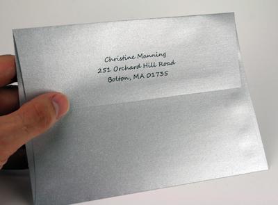 printed metallic envelope flap