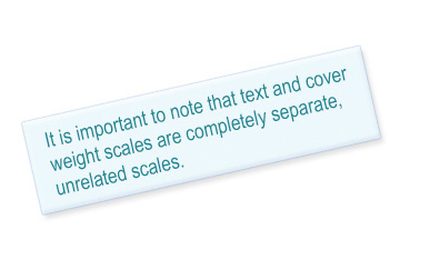 Quote - Text and cover weight scales are two unrelated scales