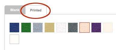 select printed envelopes tab