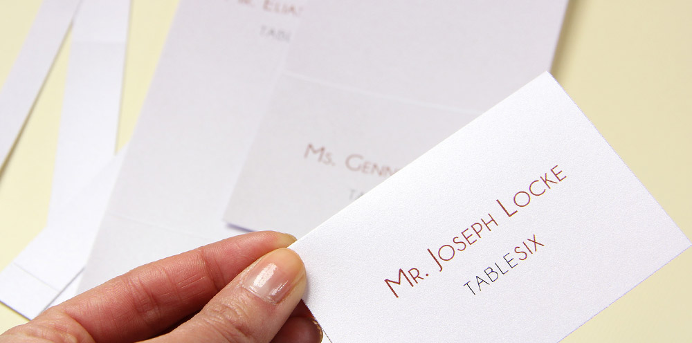 separate and fold place cards along lines