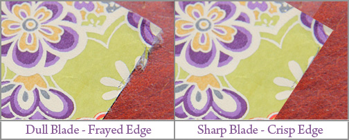 examples of sharp blade and dull blade cutting japanese paper